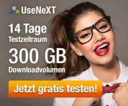 UseNeXT KOSTENLOS testen mit 14 Tage Highspeed Usenet Zugang mit einem Datenvolumen von bis zu 250 Gigabyte und einem Zugang mit bis zu 800 Mbit/s!
