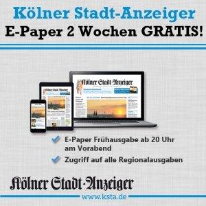 Lesen Sie jetzt den Kölner Stadtanzeiger 2 Wochen lang kostenlos als E-Paper. Erfahren Sie alles wissenswerte über Köln und Umgebung und bleiben Sie somit immer auf den neusten Stand.