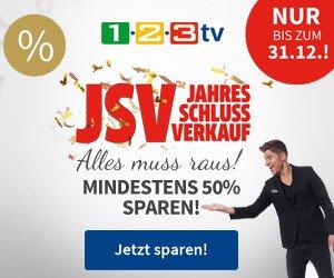 1-2-3.tv Jahres-Schlussverkauf mit starken Rabatten auf ausgewählte Produkte in Höhe von mindestens 50 Prozent.