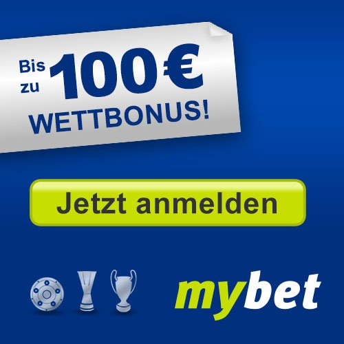 """Mit dem EM-Startschuss heißt es für Sie """"Mitfiebern"""" und bei jedem Tor der deutschen Nationalmannschaft doppelt jubeln. Melden Sie sich bereits jetzt an, nehmen Sie während der gesamten Euro 2016 in Frankreich an der Aktion teil, und sichern Sie sich jetzt bis 100 EUR mybet Neukunden-Bonus:"""