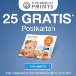 Overnightprints: 25 Postkarten KOSTENLOS