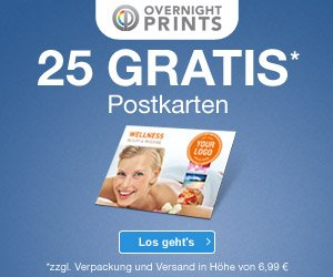 25 Postkarten KOSTENLOS bei Overnightprints: Einfach ein Design auswählen oder selber gestalten, und am nächsten Tag aus dem Briefkasten entnehmen!