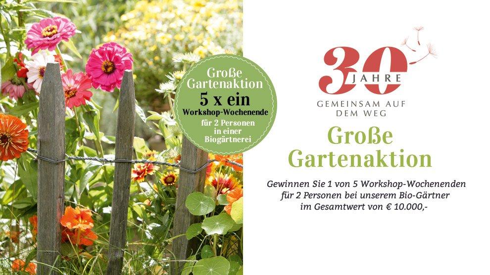 Bei der grossen Gartenaktion von Waschbär, werden 5 Workshop-Wochenenden für 2 Personen in herb's Bioland-Gärtnerei in Dötlingen (bei Bremen) verlost.