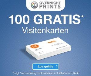 100 Visitenkarten KOSTENLOS: Einfach einen Entwurf hochladen und warten - nach kurzer Zeit erhalten Sie Ihre Visitenkarten auf griffigem 350 Gramm-Papier.