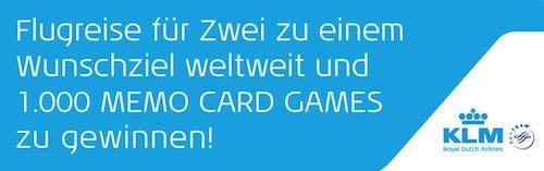 KLM: Gewinnen Sie eine Flugreise oder eins von 1.000 Memo Card Games
