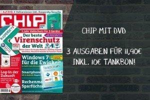Jetzt sparen beim Chip mit DVD Abo! Für 11,90 Erhalten Sie einen 10 EUR Tankbon oder Artikelset im Wert von 30,56 - somit ist das Abo quasi geschenkt!