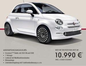 """Beim Kauf der Ausstattungsvariante """"Fiat 500 POP STAR 1.2"""" mit 51 kW (69 PS) erhalten Sie derzeit einen Bonus von 2.500 EUR bei einer unverbindlichen Preisempfehlung von 13.490 EUR, so daß Sie nur noch einen Kaufpreis von 10.990 EUR zu zahlen brauchen!"""