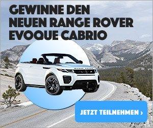 Aktuell haben Sie bei diesem Gewinnspiel die Möglichkeit, einen Range Rover Evoque Cabrio zu gewinnen. Nehmen Sie jetzt am Gewinnspiel teil und gewinnen Sie mit etwas Glück. Als weitere Preise warten übrigens noch Tickets für die IAA in Hannover