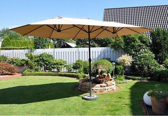 Diese ausgefallene Schirmform mit 460 cm Länge eignet sich besonders für große, rechteckige Gartentische. Es ist der ideale Sonnenschirm für den Garten oder für die Terrasse. Er ist zu dem genannten Sonderpreis erhältlich in den Farbtönen Anthrazit und Natur