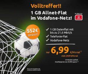Telefonie-Flatrate in alle deutschen Netze + Daten-Flatrate für 6,99 EUR/Monat (statt 29,99 EUR) im D-Netz mit 21,6 MBit/s max. Bandbreite. Nur für kurze Zeit.