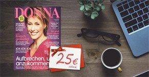 Sichern Sie sich jetzt ein Abo der beliebten Frauenzeitschrift Donna zu einem absoluten Vorzugspreis von effektiv nur 4,60 EUR für 8 Ausgaben.