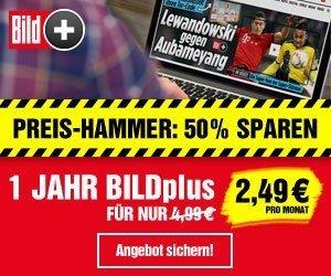 BILDplus-Sonderaktion: 50% sparen bei vollem Zugang zu allen BILD-Beiträgen, also auch mit Fußball-Bundesliga-Videos!