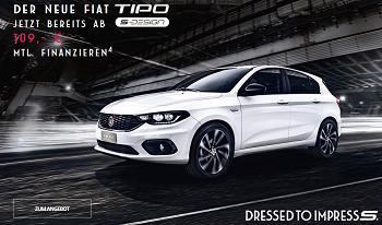 Jetzt eine kostenlose Probefahrt mit dem Fiat Tipo S Design vereinbaren und überzeugen Sie sich selbst vom neuen 5 Türer der italienischen Traditionsmarke.