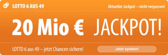 20 Mio. EUR im Lotto-Jackpot am Mittwoch, und bei uns gibt es immer noch 5 Tippfelder kostenlos!
