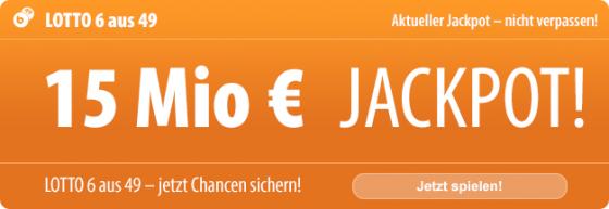 6 Tippfelder für nur 1 EUR: Mit Tipp24 können Neukunden am Mittwoch den 15 Millionen EUR schweren Jackpot ganz besonders günstig knacken, denn Sie bezahlen nur 1 Tippfeld, und von Tipp24 gibt es 5 weitere Tippfelder kostenlos dazu!