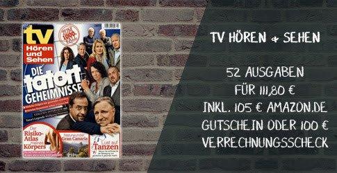 52 Ausgaben tv Hören und Sehen im Jahresabo füreffektiv 6,80 EUR: Das ist ein TOP-Angebot, bei dem Sie 105 EUR sparen gegenüber dem regulären Abo-Preis.