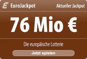 EuroJackpot: 2 von 3 Tippfeldern KOSTENLOS. Zur Zeit steht der EuroJackpot bei 76 Millionen EUR.