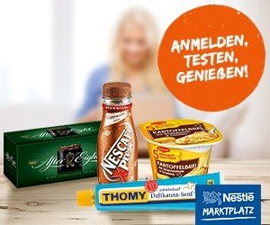Werden Sie Produkttester im Nestle-Marktplatz! Die kostenlose Mitgliedschaft bietet außerdem Gewinnspiele, neue Produkte, Rezepte, Ernährungsinfos u. v. m.