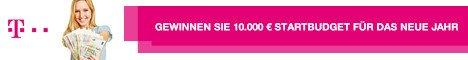 Gewinnen Sie 10.000 EUR Bargeld beim großen Gewinnspiel der Deutschen Telekom. Das ist Ihr Startbudget für das neue Jahr. Erfüllen Sie sich ein paar Träume!