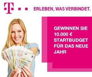 """Beim aktuellen Telekom-Gewinnspiel können Sie 10.000 Euro Bargeld gewinnen. Unter dem Motto """"Startbudget für das neue Jahr gewinnen"""" winkt ein perfekter Start ins neue Jahr 2017!"""