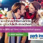Weihnachtliche Kurztrips bei Park Inn by Radisson buchen: 20% Rabatt