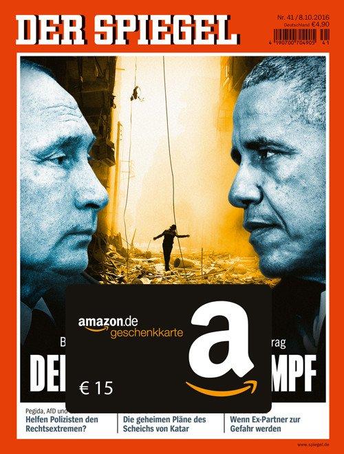 """Schnäppchenangebot! 6 Ausgaben """"Der Spiegel"""" gibt es jetzt für effektiv 4,90 EUR. Jetzt das günstige Probeabo testen und 15 EUR Amazon Gutschein erhalten"""