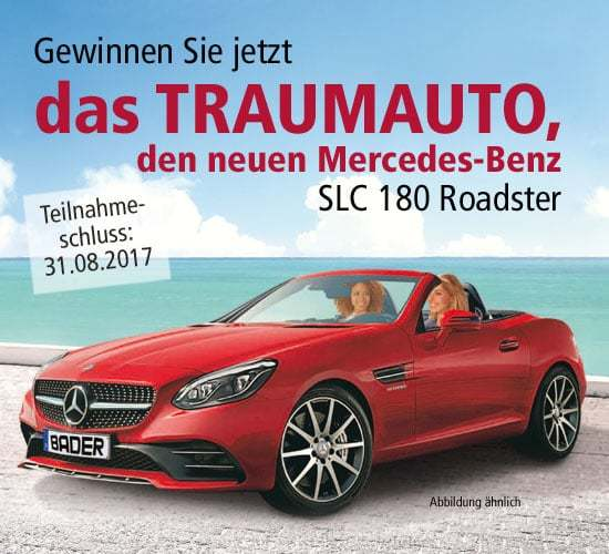 Mercedes-Benz SLC 180 Roadster Gewinnspiel Bader Traumauto Mercedes Benz SLC 180 Roadster gewinnen