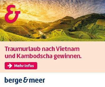 Traumurlaub gewinnen nach Vietnam + Kambodscha für 2 inkl. Flug, Hotels, Frühstück, Dschunke, Angkor, Cu Chi, Stadtbesichtigungen und Bootsfahrten.