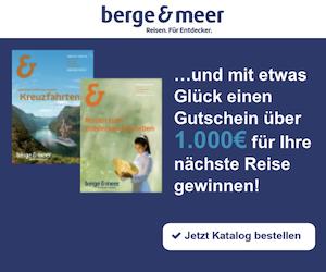 Beim aktuellen Berge und Meer Gewinnspiel können Sie eine Reisegutschein in einem Wert von satten 1.000 EUR für den beliebten Reiseanbieter gewinnen.