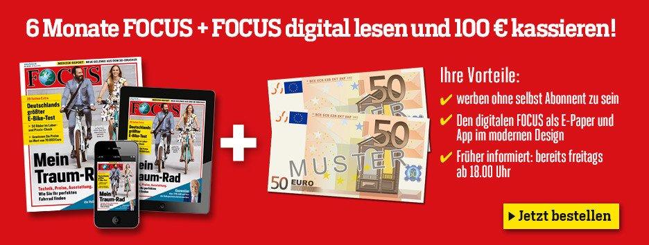 """Testen Sie 6 Monate lang Focus und das für nur 11,80 EUR insgesamt, statt regulär 111,80 EUR! Die """"Lieferung frei Haus"""" ist in diesem Preis bereits enthalten!"""