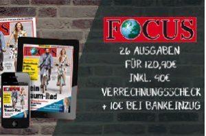 """26 Ausgaben """"Focus"""" inkl. Focus digital für effektiv 20,90 EUR statt 120,90 EUR! Nur für kurze Zeit können Sie das Nachrichtenmagazin im """"Probeabo"""" testen."""