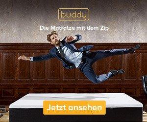 Gratis Nackenkissen geschenkt bekommen bei buddy: Einfach im buddy Onlineshop im Aktionszeitraum eine Matratze kaufen - und das KOSTENLOSE Nackenkissen im Wert von 79,99 EUR gehört Ihnen ebenfalls!