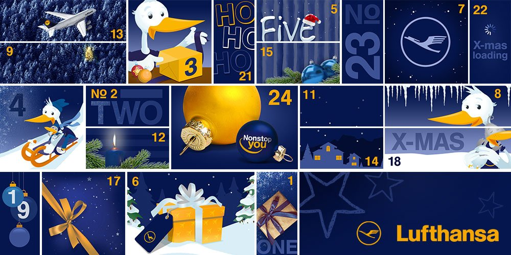 Der Lufthansa Familien-Adventskalender bietet jeden Tag tolle Preise, von Flugzeugbausätzen über Spiele bis hin zu einem Europa Lufthansa-Flug.
