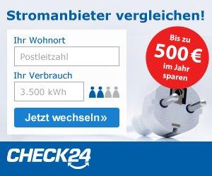 Stromanbieter wechseln und dabei bis zu 500 Euro sparen, Jetzt bei Check24 Ihren Anbieter mit anderen vergleichen und sicher einen günstigeren Tarif finden!