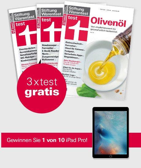 """Nutzen Sie jetzt das Angebot von Stiftung Warentest, und erhalten Sie 3 x """"test"""" kostenlos, und gewinnen Sie mit etwas Glück ein iPad Pro."""