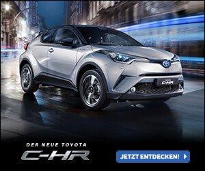 Jetzt kostenlos den neuen Toyota C-HR konfigurieren, ein SUV-Coupé mit sportlichem Design. Die neue Interpretation des Crossover.