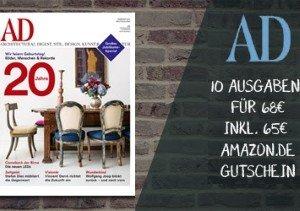 Jetzt Zugreifen und für nur 3 EUR das 12 Ausgaben umfassende AD Architectural Digest Jahresabo erwerben. Günstiger wird es nicht mehr!