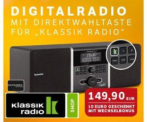 """Bei der """"Alt gegen Neu"""" Aktion vom Klassik Radio Shop können Sie jetzt bis zu 50 EUR Wechselprämie erhalten, wenn Sie ihr altes Radio eintauschen!"""