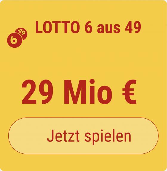 Fordern Sie für nur 1 EUR Ihr Glück heraus: Im Samstags-Lotto wartet ein 29 Mio EUR-Jackpot auf den Gewinner, und bei Tipp24 erhalten Sie 5 Tippfelder GESCHENKT! Sie bezahlen für 6 Tippfelder nur 1 EUR!