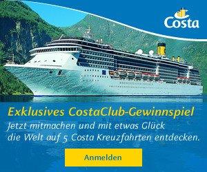 Mit diesem Gewinn von Costa Club, können Sie sich auf ein ganz besonderes Kreuzfahrten-Paket mit 5 exklusiven Kreuzfahrten freuen.