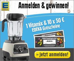 Machen Sie jetzt beim Edeka Newsletter Gewinnspiel mit, und gewinnen Sie einen Vitamix Professional 750 oder Einkaufs-Gutscheine im Wert von 50 EUR.