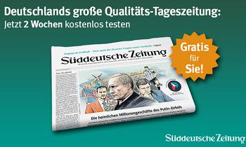 Sichern Sie sich jetzt die Süddeutsche Zeitung kostenlos. 14 Tage lang erhalten Sie bei dieser Aktion Qualitätspresse frei Haus zugestellt.