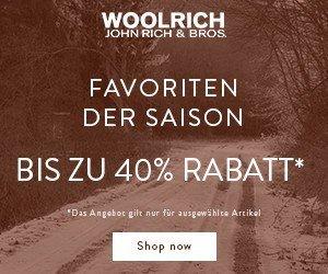 Jetzt bis zu 40% Rabatt beim großen Woolrich Winter Sale, hier können Sie hochwertige Winter-Mode für Damen und Herren in aktuellen Styles finden!