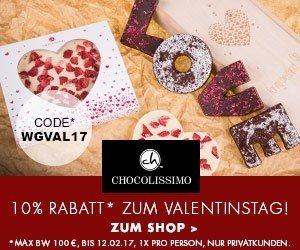 Besuchen Sie jetzt Chocolissimo und kaufen Sie süße Geschenke für Ihren Schatz zum Valentinstag. Sparen Sie 10% mit dem Valentins-Gutschein!