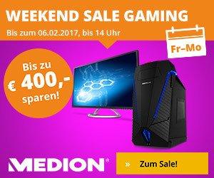 Entdecken Sie den Weekend-Sale bei Medion - hier können Sie bei Ihrem Einkauf bis zu 400 EUR sparen. Jetzt gleich Medion besuchen und sparen!