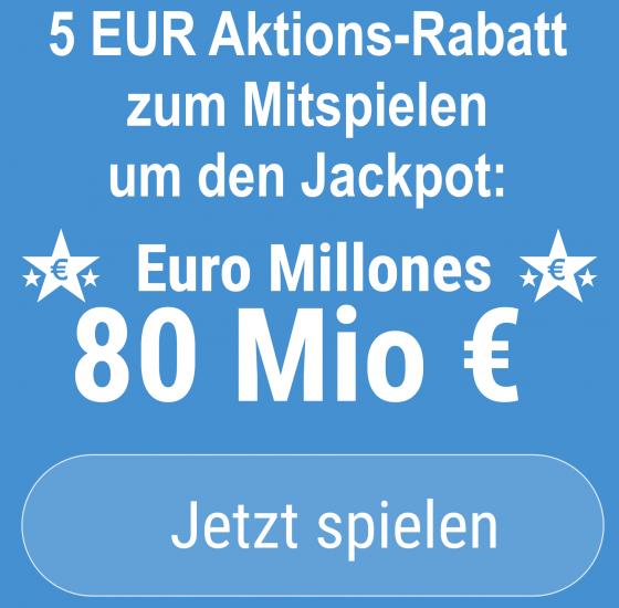 Am Freitag wird auf europäischer Bühne der Euro Millones-Jackpot in Höhe von 80 Mio EUR ausgespielt. Bei uns gibt es 5 EUR Aktionsrabatt zum Mitspielen.