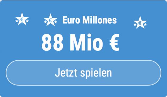 Jackpot knacken bei Euro Millones: Ausgespielt werden sagenhafte 88 Mio EUR, und bei uns gibt es 5 EUR Aktionsrabatt zum Mitspielen.
