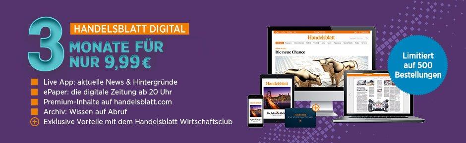 3 Monate den Handelsblatt Digitalpass für nur 9,99 EUR testen! Jetzt bestellen und stets mit aktuellen News rund um Wirtschaft und Finanzen versorgt werden.