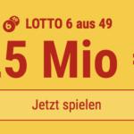 HEUTE im Mittwochs-Lotto: 5 Tippfelder GESCHENKT für 25 Mio EUR-Jackpot!
