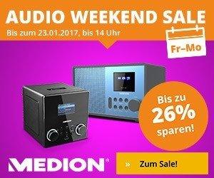 Nur dieses Wochenende können Sie bis zu 26 % Rabatt beim Medion Audio Weekend Sale sparen. Jetzt z.B. Internetradios und Lautsprecher mit Rabatt shoppen!